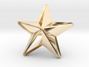 Five pointed star earring - Medium Large 3cm in 14k Gold Plated Brass