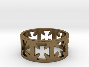 Outlaw Biker Cross Ring Size 11 in Natural Bronze
