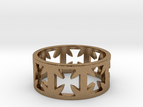 Outlaw Biker Cross Ring Size 11 in Natural Brass