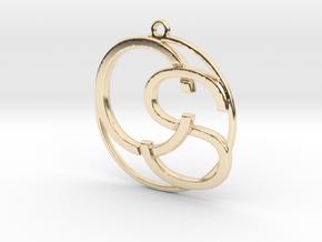 C&S Monogram Pendant in 14K Yellow Gold