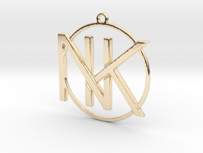 K&N Monogram Pendant in 14k Gold Plated Brass