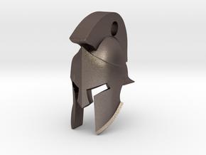 Keyring Spartan Helmet in Polished Bronzed Silver Steel