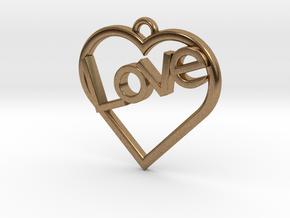 "Heart ""Love"" Pendant in Natural Brass"