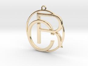 C&R Monogram Pendant in 14k Gold Plated Brass