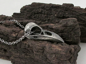 Large Raven Skull Necklace in Antique Silver