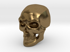 3D Printed Skull - Small in Natural Bronze