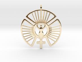 SOLAR FEMININE Venus Jewelry Symbol Necklace. in 14K Yellow Gold