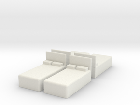 Twin Bed (x4) 1/120 in White Natural Versatile Plastic