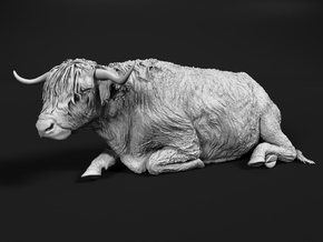 Highland Cattle 1:87 Lying Female in Smooth Fine Detail Plastic