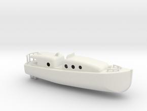 1/128 Scale 35 ft Motor Boat in White Natural Versatile Plastic
