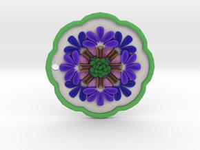 Fairy Fan Flower Pendant in Natural Full Color Sandstone