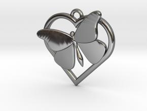 Heart Butterfly in Premium Silver