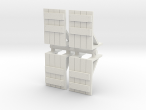 Wooden Barricade (x4) 1/160 in White Natural Versatile Plastic