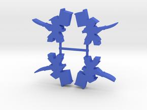 Samurai Meeple, Spearman Banner, 4-set in Blue Processed Versatile Plastic