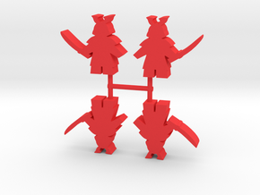 Samurai Meeple, Sword Standing, 4-set in Red Processed Versatile Plastic