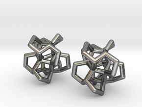Twistane Cluster Pair in Polished Silver