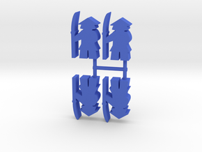 Samurai Meeple, Spear Guard, 4-set in Blue Processed Versatile Plastic