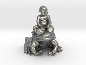 Putti On Frog 3 Inches Tall in Natural Silver