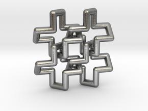 Hash Tag Pendant in Natural Silver (Interlocking Parts)