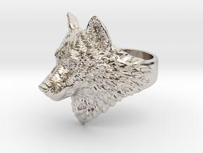 Proud Wolf animal head ring jewelry in Platinum: 10 / 61.5