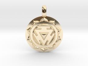 SOLAR PLEXUS MANIPURA Chakra Symbol Pendant in 14K Yellow Gold