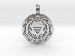 SOLAR PLEXUS MANIPURA Chakra Symbol Pendant in Natural Silver