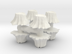 8 Tree Stumps (Set 1) 1/87 in White Natural Versatile Plastic