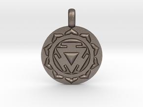 SOLAR PLEXUS MANIPURA Chakra Symbol Pendant in Polished Bronzed Silver Steel