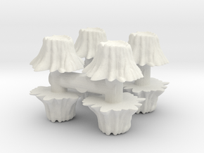 8 Tree Stumps (Set 1) 1/56 in White Natural Versatile Plastic