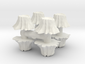 8 Tree Stumps (Set 1) 1/48 in White Natural Versatile Plastic