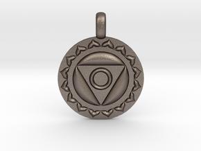 VISHUDDHA Throat Chakra Symbol Pendant  in Polished Bronzed Silver Steel