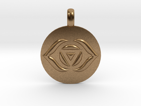 AJNA THIRD EYE Chakra Symbol jewelry Pendant in Natural Brass