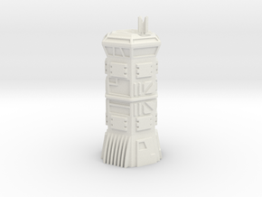 Large Armoured Hex Comm's Tower (6mm Scale) in White Natural Versatile Plastic