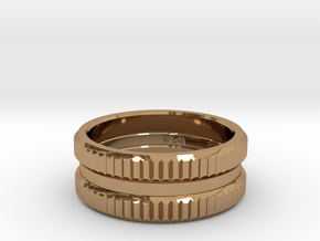 Triple Band iXi Ring Size 6 in Polished Brass