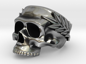 Skull Ring with Laurels in Antique Silver