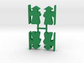Warrior Meeple, staff, 4-set in Green Processed Versatile Plastic
