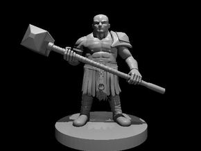 Dwarf Barbarian with Maul - no beard in Smooth Fine Detail Plastic