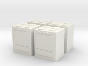 Stove (x4) 1/144 in White Natural Versatile Plastic