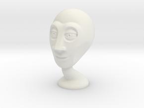 Stylized alien head in White Natural Versatile Plastic