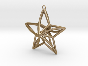 Twisted Star Necklace in Polished Gold Steel