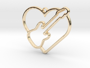 Heart and electric guitar pendant in 14k Gold Plated Brass