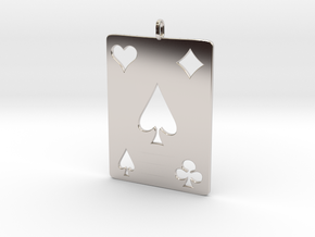 Ace of Spades in Rhodium Plated Brass