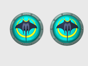 Devil Rays - Round Power Shields (L&R) in Smooth Fine Detail Plastic: Small