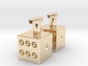 Cufflinks dice pair in 14K Yellow Gold
