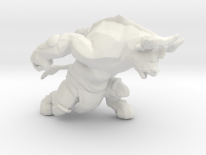 Minotaur charging DnD miniature games rpg dungeons in White Natural Versatile Plastic