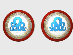 Iron Snakes - Round Power Shields (L&R) in Smooth Fine Detail Plastic: Small