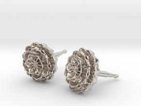 lotus_flower_stud_D8.5mm in Rhodium Plated Brass
