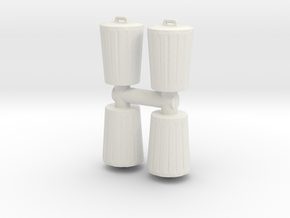 Trash can (x4) 1/100 in White Natural Versatile Plastic