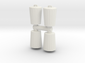 Trash can (x4) 1/87 in White Natural Versatile Plastic