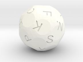 Spherical Alphabet Die in White Processed Versatile Plastic